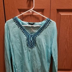 Hand beaded blue tunic